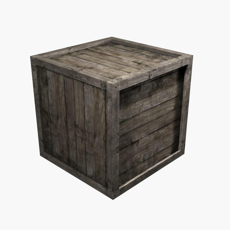 3d crate wood wooden model