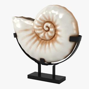 3d nautilus seashell model
