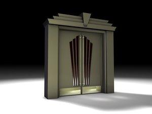 3d model art deco door set