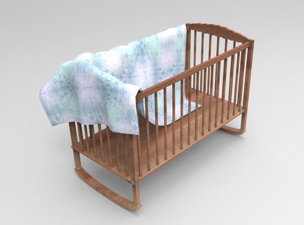 3d wooden baby crib