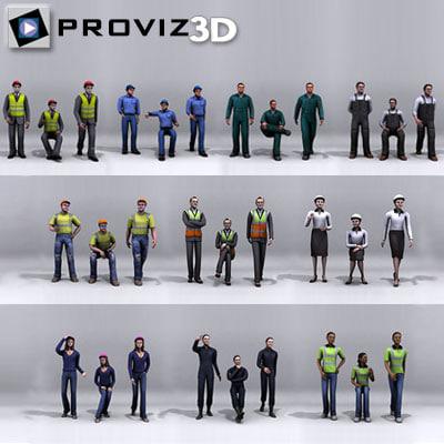 3d 30 people: working people model