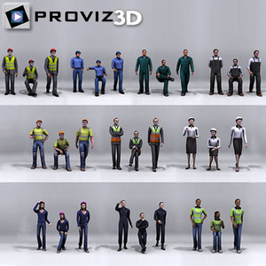 3d 30 people: working people model