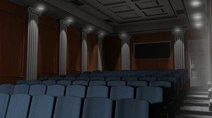 small screening room scene 3d obj