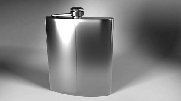 obj metal flask render scene