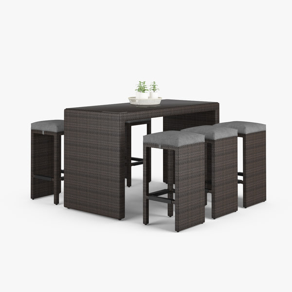 outdoor bar set stools 3d model