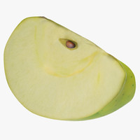 3d green apple slice 3 model
