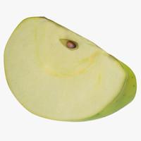 3d green apple slice 3 model