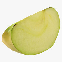 3d 3ds green apple slice 2