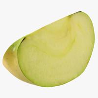 3d model of green apple slice 2