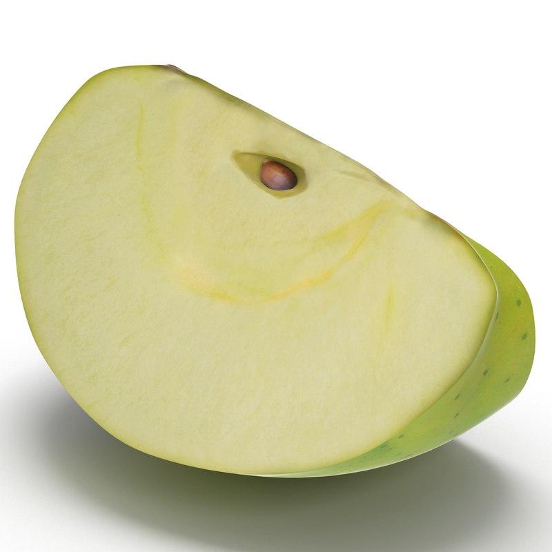 green apple slice 3 3d model