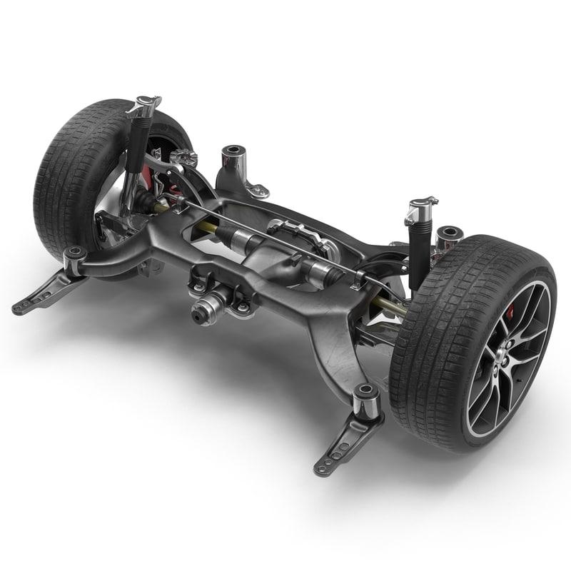 sedan axle modeled 3d 3ds