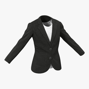 3d women suit jacket modeled