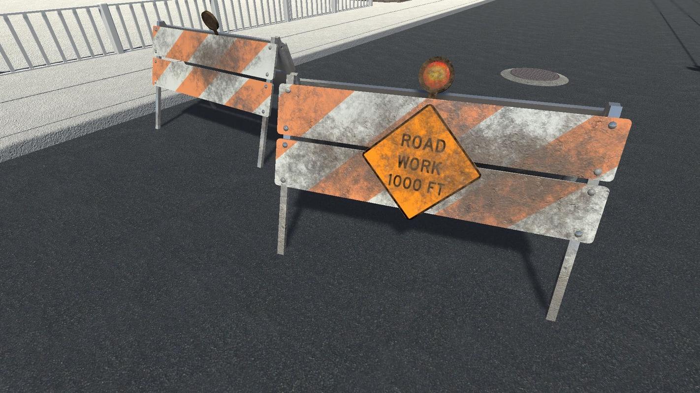3d model men work road sign