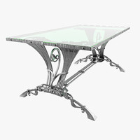 table forged with glass