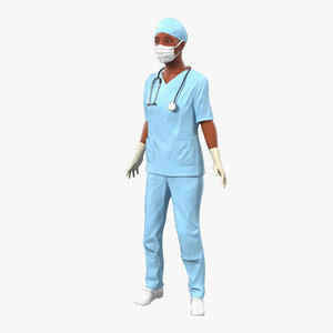 3d model female surgeon african american