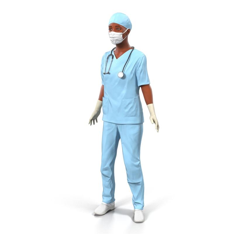 3d model female surgeon african american