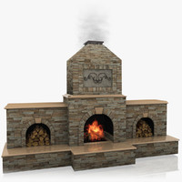 3d classic outdoor fireplace stone