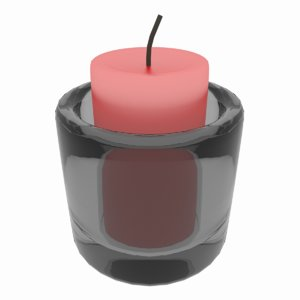 free simple candle glass holder 3d model