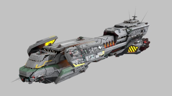 scifi space cruiser 3d model
