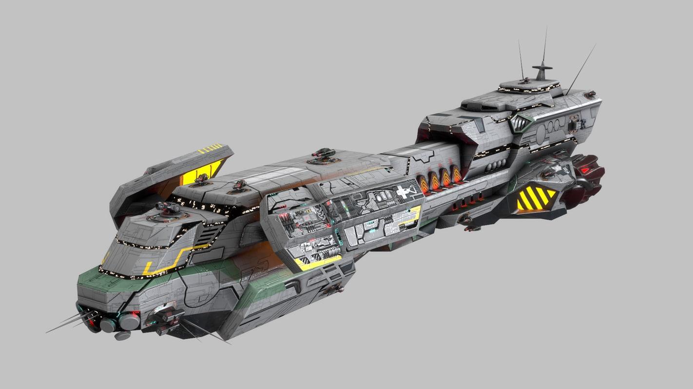 scifi space cruiser 3d model