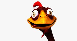 cartoon chicken rigged 3d model