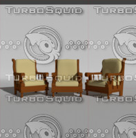 antique wooden chair 3d obj