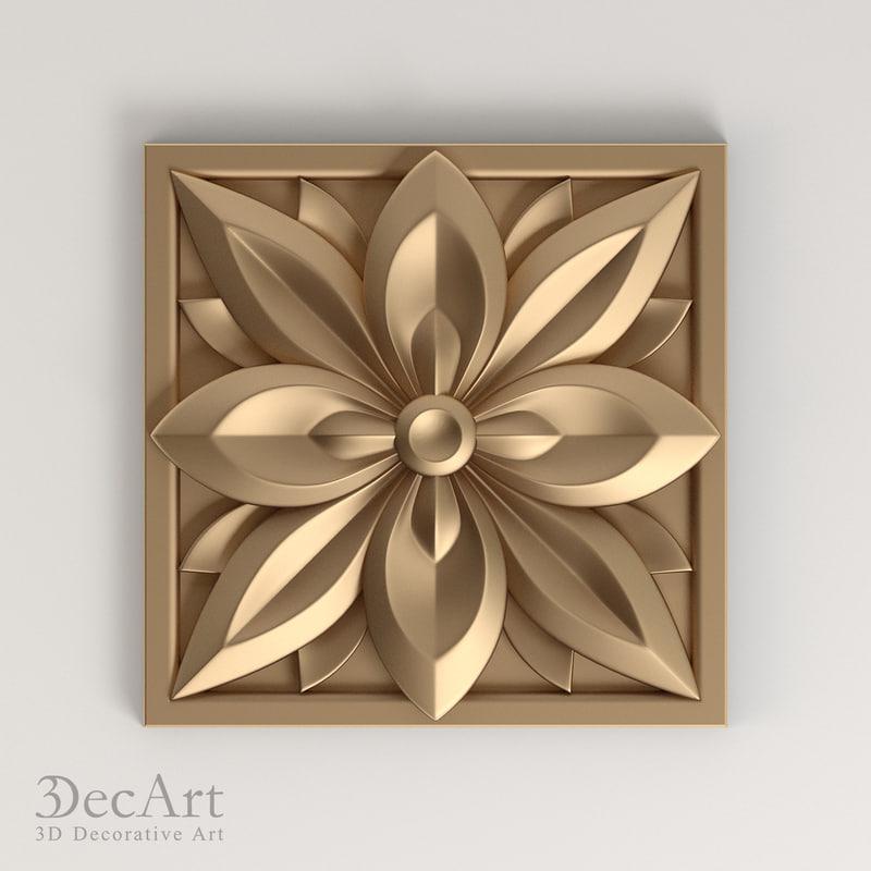 3d model carved rosette