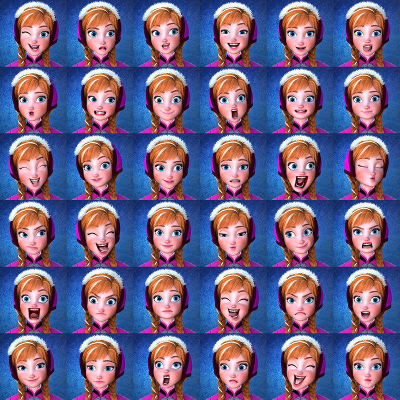 disney Anna face expressions 3d model turbosquid rigged animated
