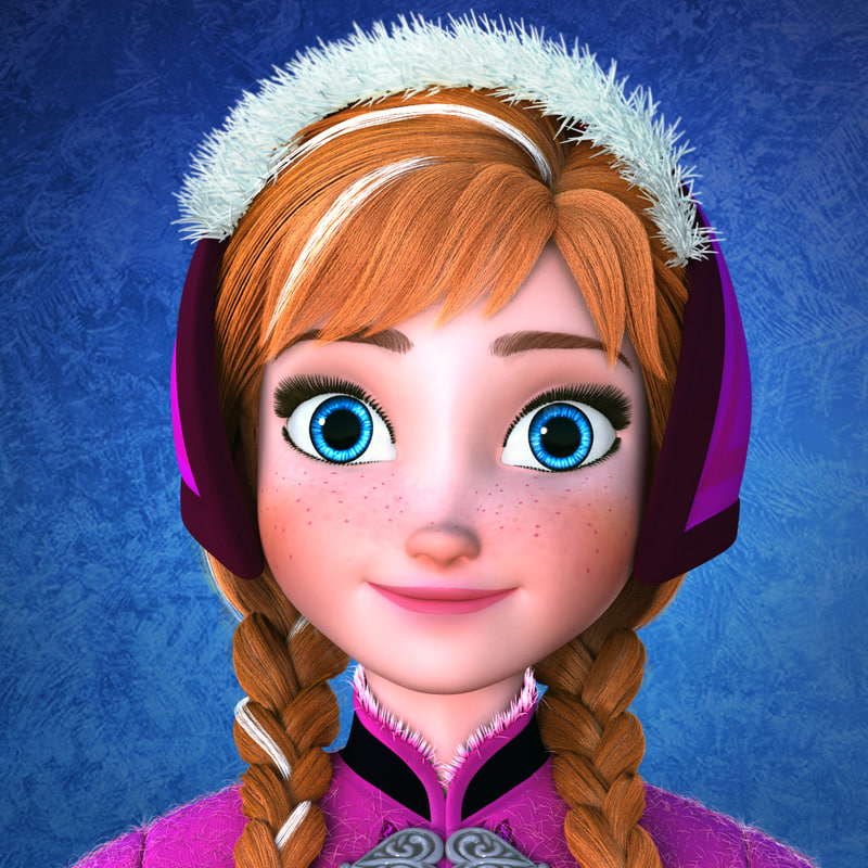 Princess Anna Frozen character rigged and animated 3d model turbosquid