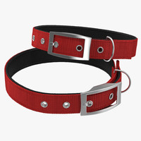dog collar 3 red 3d model
