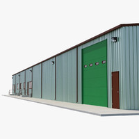 Warehouse Building 3 Green 3D Model