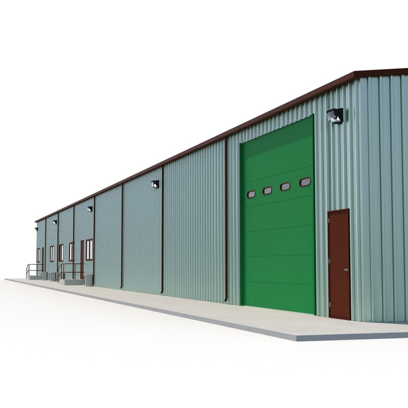 warehouse building 3 green 3d 3ds