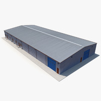 Warehouse Building 3 Blue 3D Model