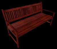 3d model of wooden bench