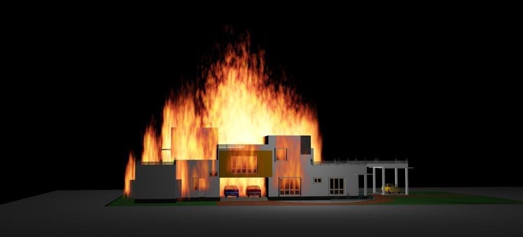 3d burning villa animation model