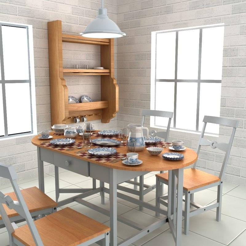 tableware table chair 3d model