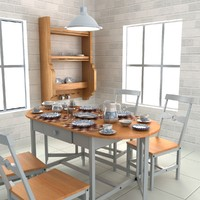 Tableware with Table and Chairs