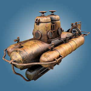 old mini submarine 3d obj