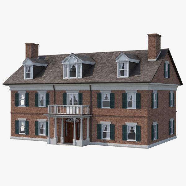 3d model colonial house build