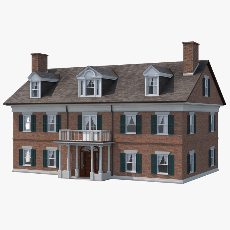 3d Model Colonial House Build: house 3d model