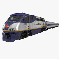 diesel electric train amtrak 3d max