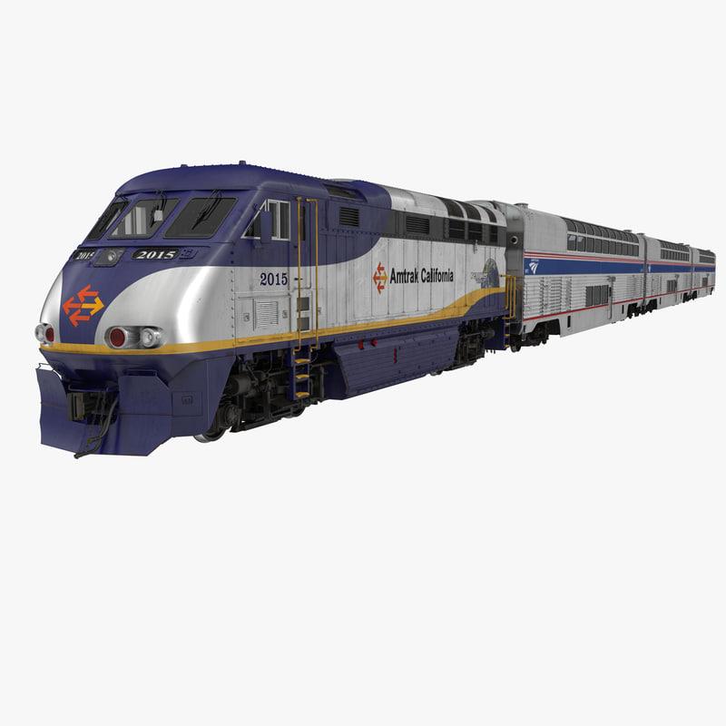 passenger double deck train 3d max