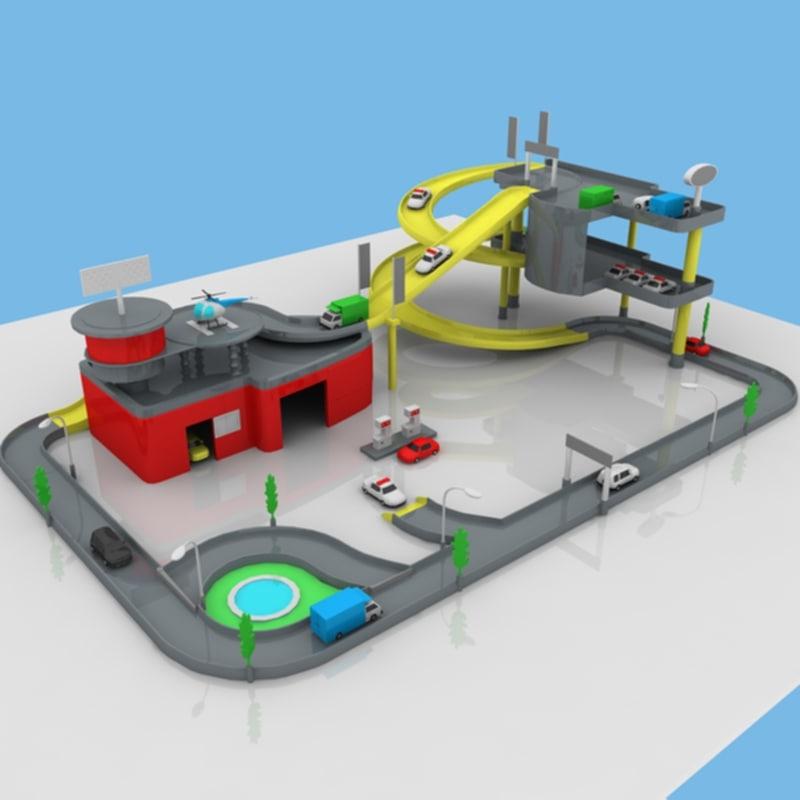 3d model toy car garage