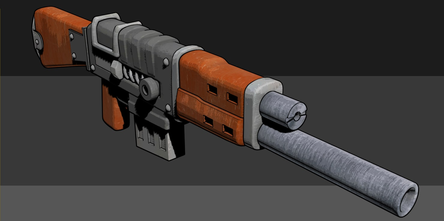 concept stylized shotgun 3d model
