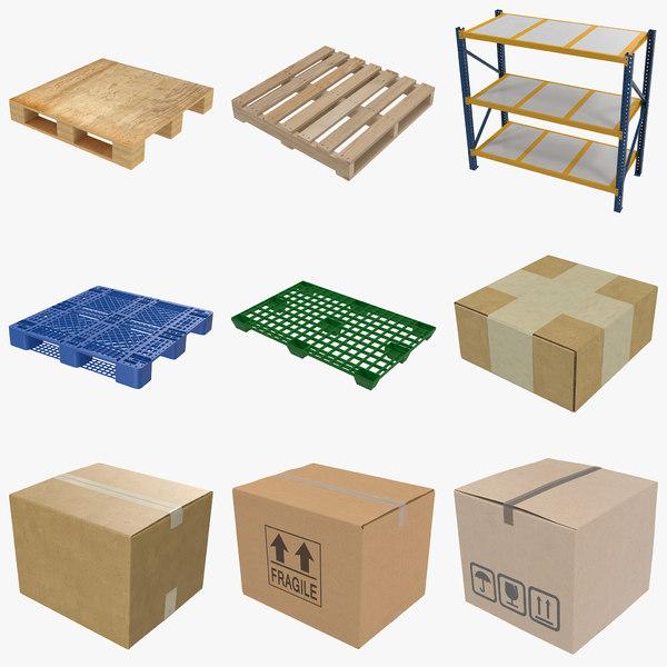 warehouse wood pallet cardboard box 3d max