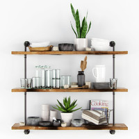 Shelves with kitchenware & plants