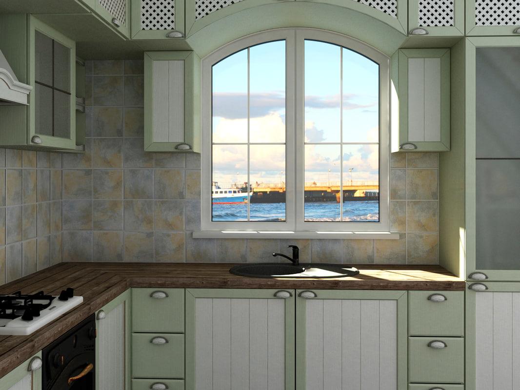 3d kitchen provence style