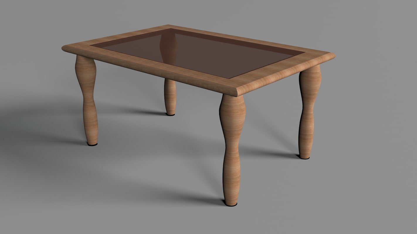 wood dining table 3d 3ds