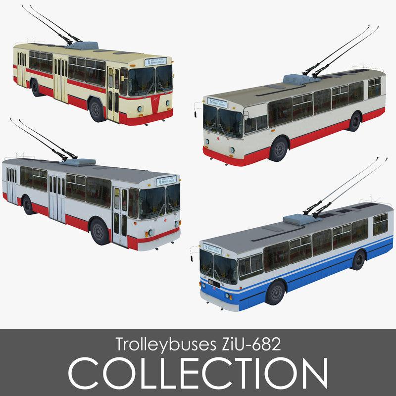 pack trolleybuses ziu-682 3d obj