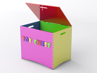 3d child wooden toy chest